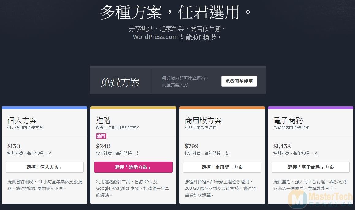 wordpress.com 計畫方案